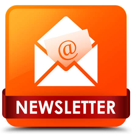 Newsletter isolated on orange square button with red ribbon in middle abstract illustration