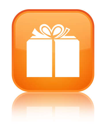 Gift box icon isolated on special orange square button reflected abstract illustration