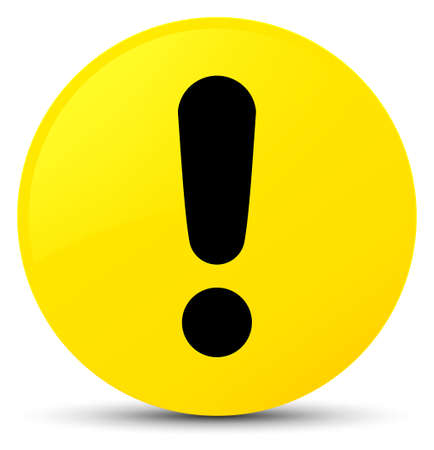 Icône de point d'exclamation isolé sur jaune illustration abstraite de bouton rond