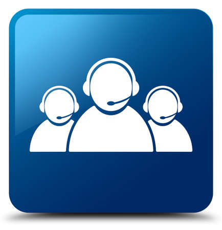Customer care team icon isolated on blue square button abstract illustration