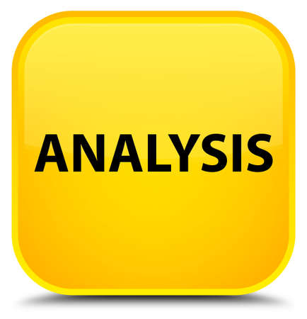 Analysis isolated on special yellow square button abstract illustration Stock Photo