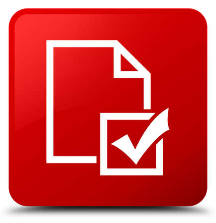 Survey icon isolated on red square button abstract illustration