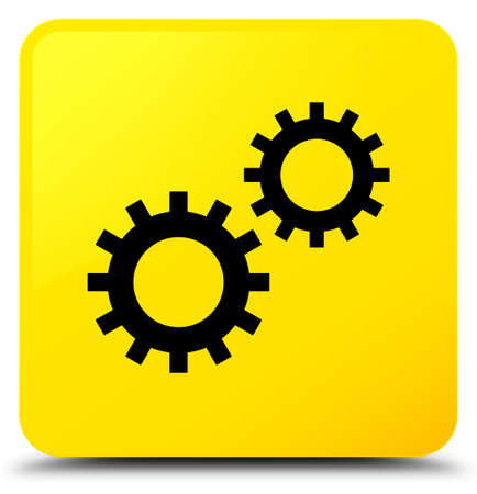 Process icon isolated on yellow square button abstract illustration