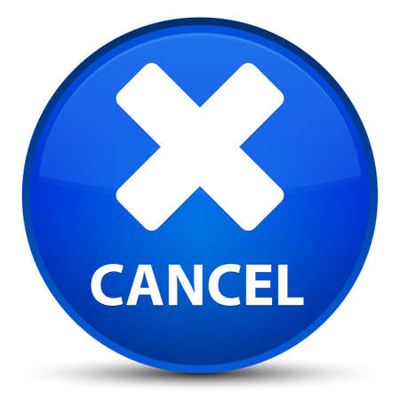 Cancel isolated on special blue round button abstract illustration Reklamní fotografie
