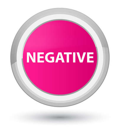 Negative isolated on prime pink round button abstract illustration
