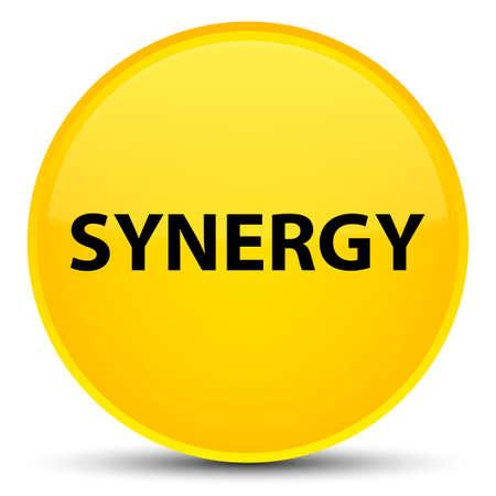 Synergie op speciale gele ronde knoop abstracte illustratie die wordt geïsoleerd