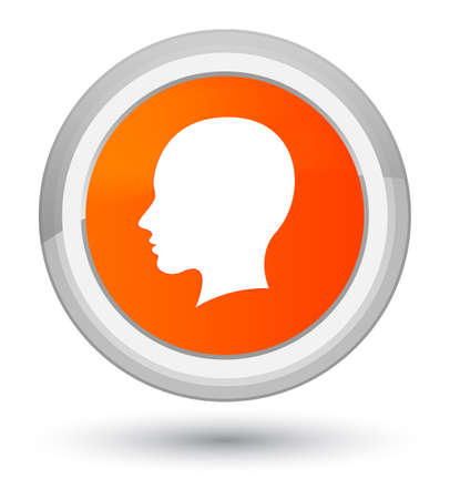 Head female face icon isolated on prime orange round button abstract illustration
