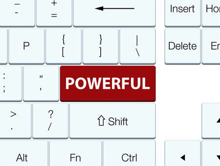 Powerful isolated on brown keyboard button abstract illustration