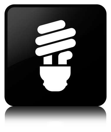 Bulb icon isolated on black square button reflected abstract illustration