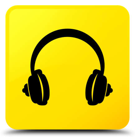 Headphone icon isolated on yellow square button abstract illustration