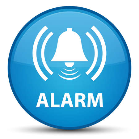 Alarm (bell icon) isolated on special cyan blue round button abstract illustration