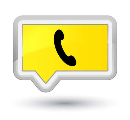 Phone icon isolated on prime yellow banner button abstract illustration