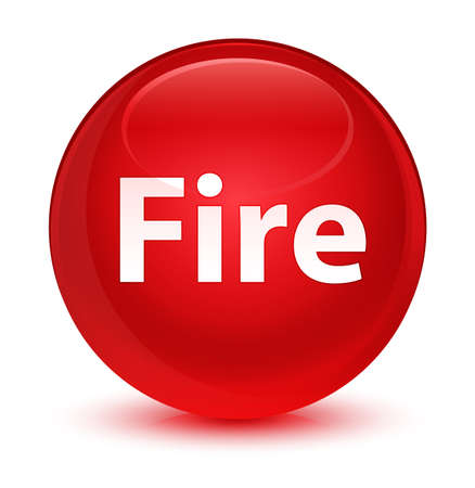 Fire isolated on glassy red round button abstract illustration
