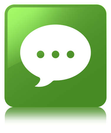Conversation icon isolated on soft green square button reflected abstract illustration