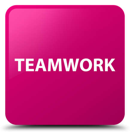 Teamwork isolated on pink square button abstract illustration