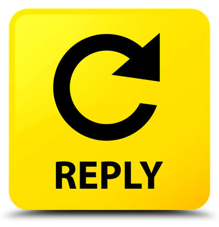 Reply (rotate arrow icon) isolated on yellow square button abstract illustration