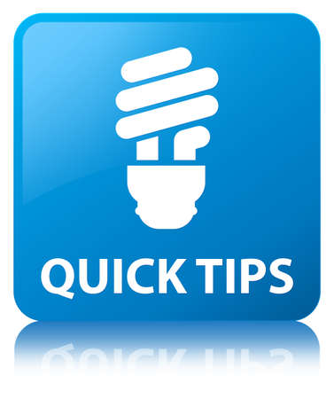 Quick tips (bulb icon) isolated on cyan blue square button reflected abstract illustration Stock Photo