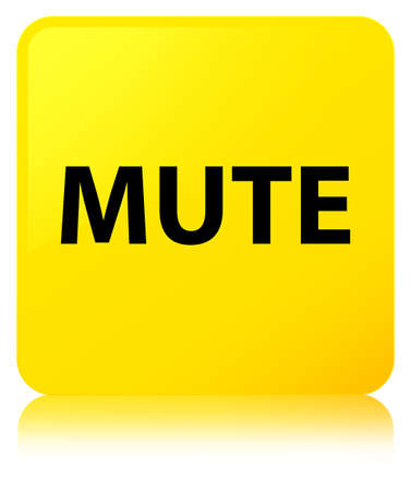 Mute isolated on yellow square button reflected abstract illustration