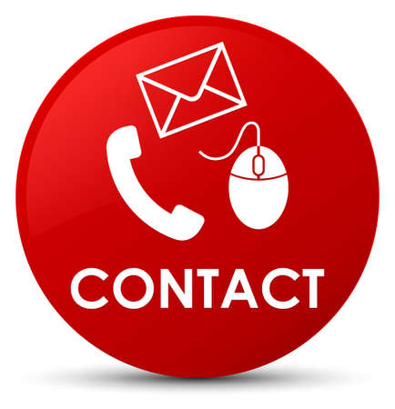Contact (phone email and mouse icon) red isolated on round button abstract illustration Stock Photo