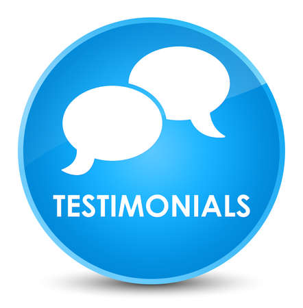 Testimonials (chat icon) isolated on elegant cyan blue round button abstract illustration