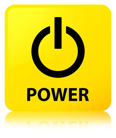 Power isolated on yellow square button reflected abstract illustration Stock Photo