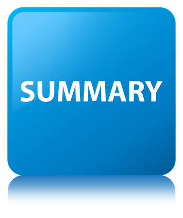 Summary isolated on cyan blue square button reflected abstract illustration Stok Fotoğraf