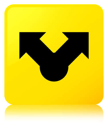 Share icon isolated on yellow square button reflected abstract illustration