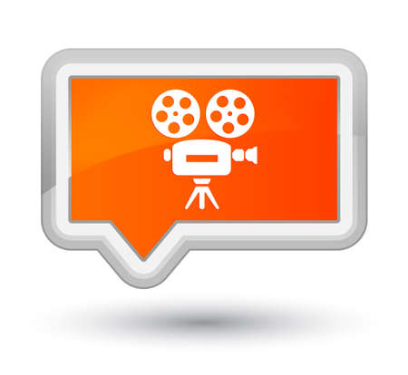 Video camera icon isolated on prime orange banner button abstract illustration Фото со стока