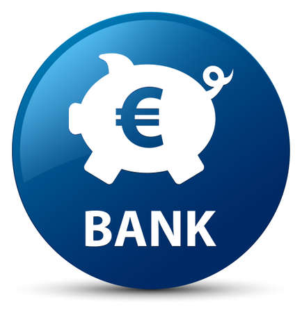 Bank (piggy box euro sign) isolated on blue round button abstract illustration
