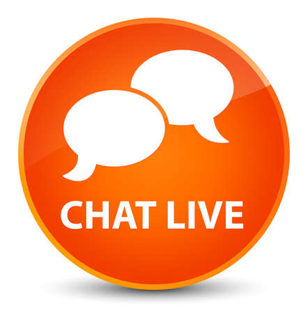 Chat live isolated on elegant orange round button abstract illustration Stock Photo