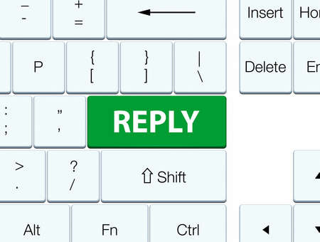 Reply isolated on green keyboard button abstract illustration