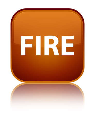 Fire isolated on special brown square button reflected abstract illustration Stock Photo