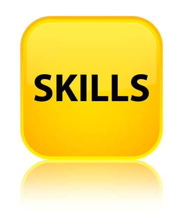 Skills isolated on special yellow square button reflected abstract illustration