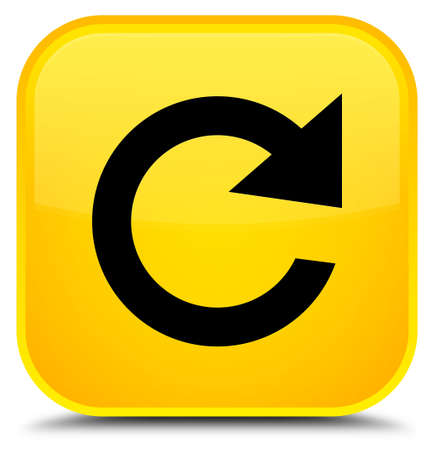 Reply rotate icon isolated on special yellow square button abstract illustration Stock Photo