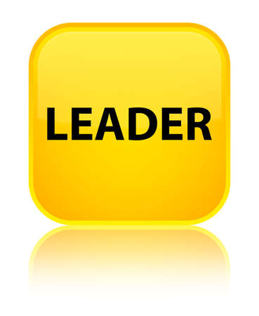Leader isolated on special yellow square button reflected abstract illustration