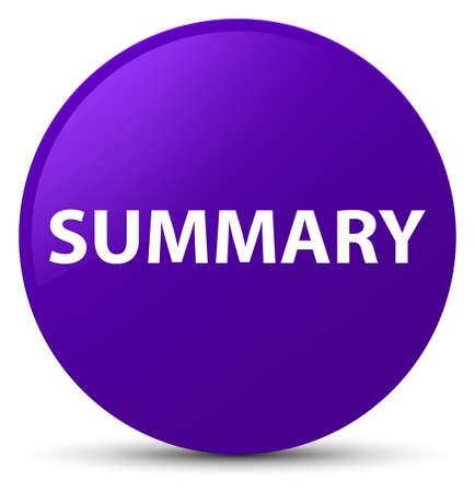 Summary isolated on purple round button abstract illustration