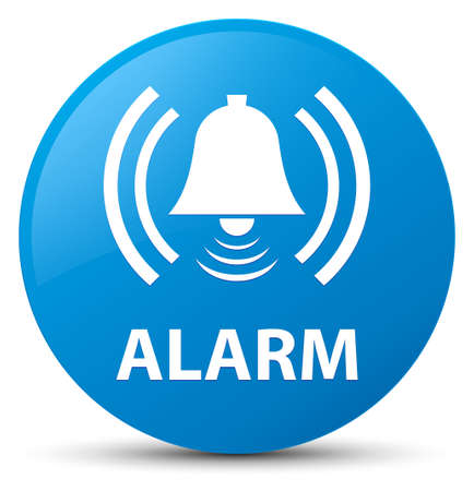Alarm (bell icon) isolated on cyan blue round button abstract illustration Stock Photo