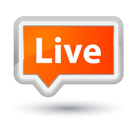 Live isolated on prime orange banner button abstract illustration