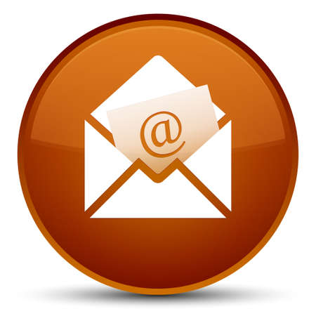 Newsletter email icon isolated on special brown round button abstract illustration