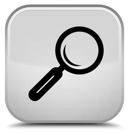 Magnifying glass icon isolated on special white square button abstract illustration Stock Photo