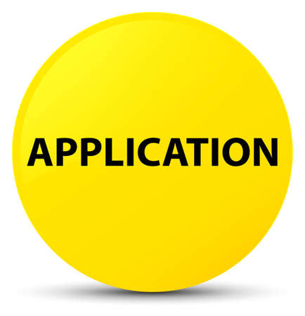 Application isolated on yellow round button abstract illustration