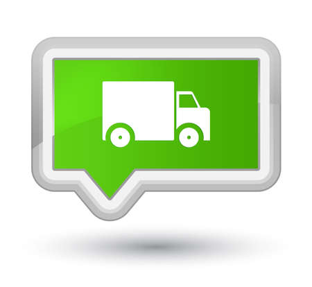 Delivery truck icon isolated on prime soft green banner button abstract illustration Stock Photo
