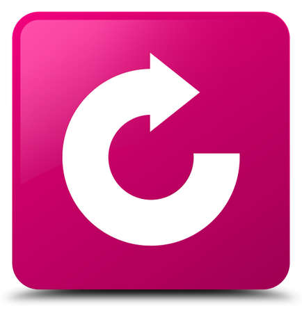 Reply arrow icon isolated on pink square button abstract illustration Stock Photo