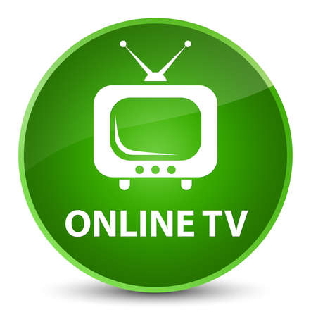 Online tv isolated on elegant green round button abstract illustration Stock Photo