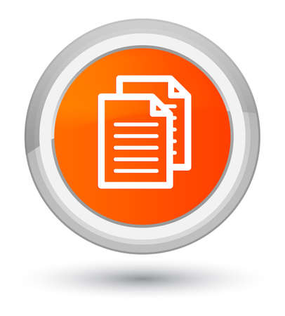 Documents icon isolated on prime orange round button abstract illustration