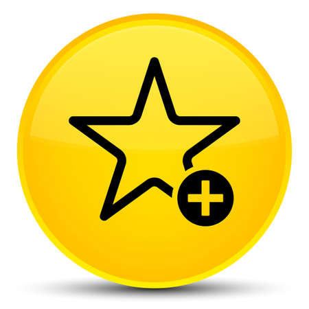 Add to favorite icon isolated on special yellow round button abstract illustration Stock Photo