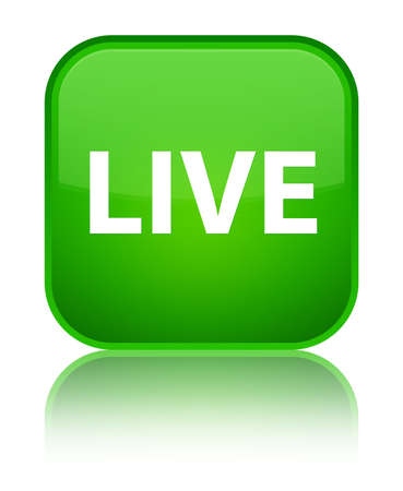 Live isolated on special green square button reflected abstract illustration