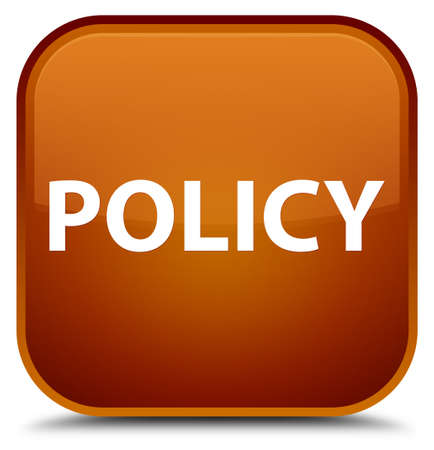Policy isolated on special brown square button abstract illustration