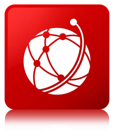 Global network icon isolated on red square button reflected abstract illustration