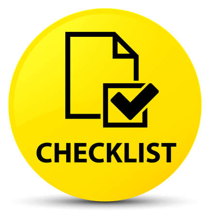 Checklist isolated on yellow round button abstract illustration